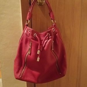 Red leather drawstring purse
